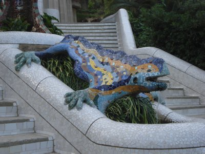 Gaudi's Mosiac Lizard at Parc Guell, Barcelona, Spain