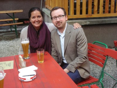 Jennifer and her brother James at a beer garden in Frankfurt