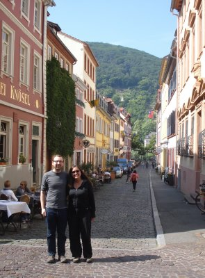 Narrow streets in the valley of the old town of Heidelberg
