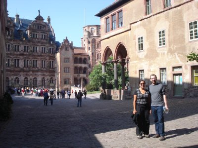 Jennifer and James standing in a square of sunlight, Heidelberg, Germany