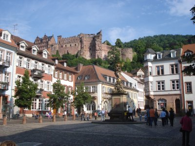 Castle in Heidelberg seen from the old town