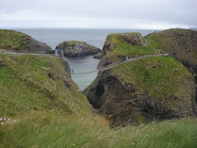 Carrick A Rede Rope Bridge.  This 80-foot bridge was used by salmon fishermen to carry their catches back to the mainland.