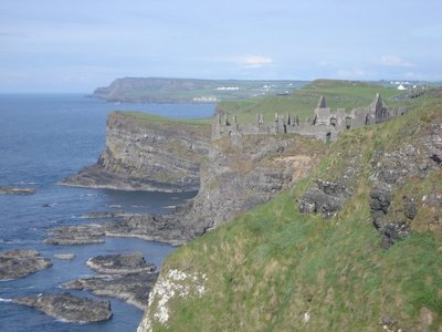 Dunluce Castle near Ballycastle, Ireland.  In the year 1639 part of its kitchen along with seven cooks fell into the Irish Sea.