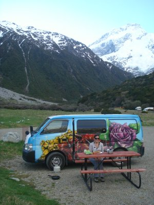 Jenny and Bok Choy Baby, Mt. Cook Campground