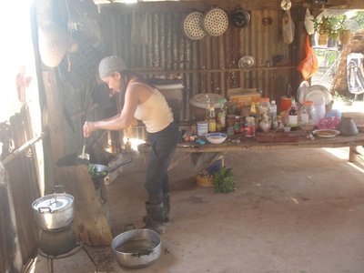 Uma preparing a very delicious meal for us on her organic farm!