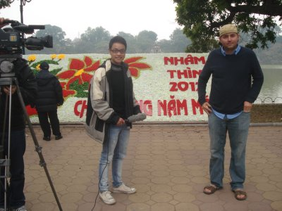 Robert being interviewed for an Entertainment TV Show in Hanoi