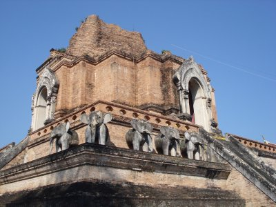 Elephant statues used to surround this entire temple!  Wat Chediluang in Chiang Mai.
