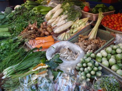 Selecting ingredients at the local market for our cooking class