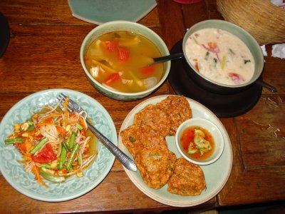 Paypaya salad, hot and sour prawn soup, coconut chicken soup and fish cakes -- Created by Jennifer and Robert