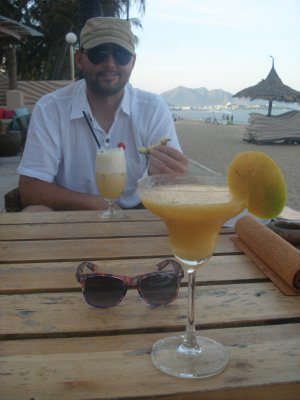 Enjoying cocktails on the beach in Nha Trang