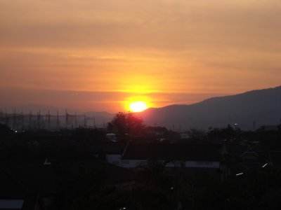Chiang Mai sunset from our balcony