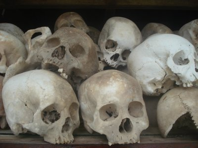 Skulls of Genocide Victims at the Killing Fields