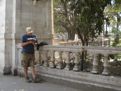 Robert studying the map of Kolkata outside of the Victoria Memorial