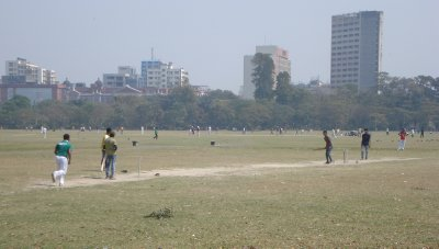 The Maidan in Kolkata.  It would be easier to count the number of people in India who don't play cricket, than to count the number of people who do.