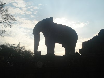 Elephant made out of stone at East Mebon