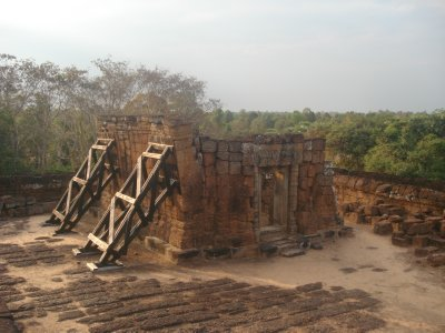 Ruins held in place at East Mebon Temple