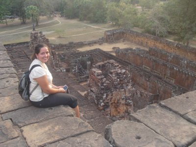 Jennifer taking in sunset at Pre Rup Temple