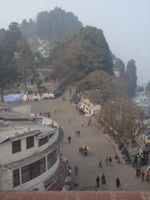 View of the Chowrasta in Darjeeling from the roof of our hotel