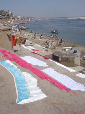 Laundry drying on the Ghat steps along the Ganges