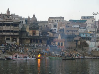 Corpses being burned at the burning ghat of Manikarnika
