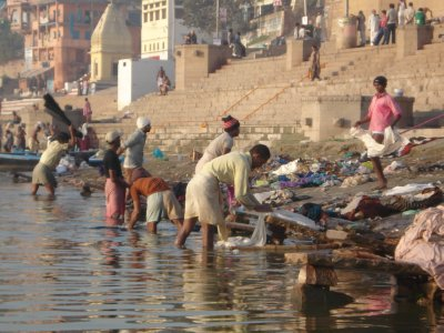 Laundry, Ganges style.  We opted out of getting our laundry done in Varanasi
