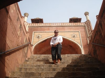 On the stairs at Humayun's Tomb