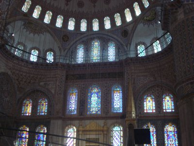 Stain glass windows at the Blue Mosque