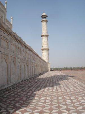 Looking north alongside the Taj
