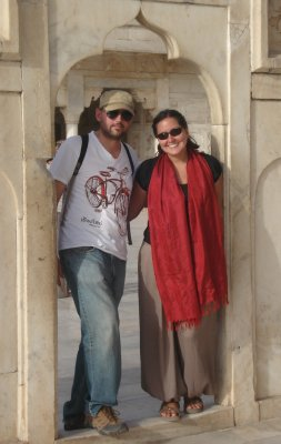Stepping through a doorway at the Agra Fort