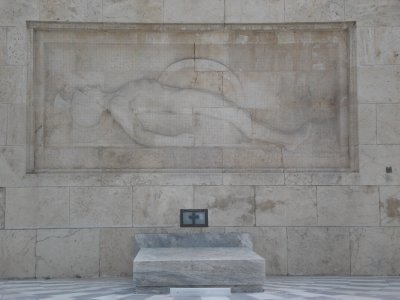 Greek tomb of the Unknown Soldier--looks like Robert's High School Mascot