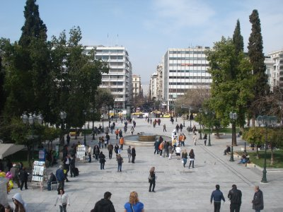 Syntagma Square--location of the Finance Ministry and the place to be if you feel like getting your Riot on.
