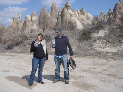 Robert and Kim taking a water break during hike around Rose Valley, Cappadocia