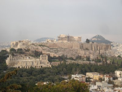 The acropolis featuring the Parthenon on top