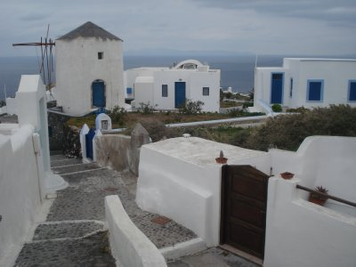 Traditional white buildings on Santorini
