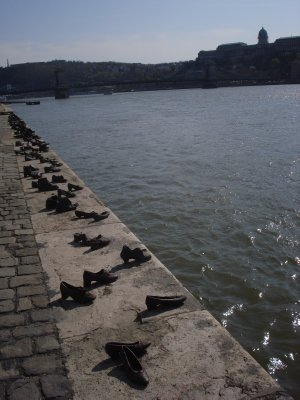 The Shoes on the Danube Promenade Memorial in honor of the Jews who were forced to remove their shoes before being executed by the fascist Arrow Cross militiamen in Budapest in 1945.  After they were shot their bodies fell into the Danube.