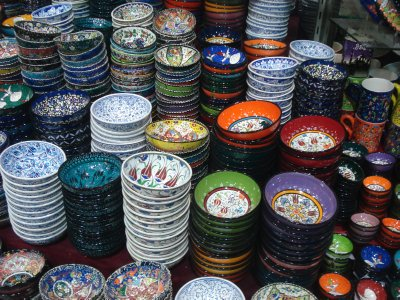 Painted cups for sale at the Grand Bazaar