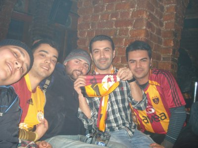 Robert and his new Turkish friends cheering on Galatasaray S.K. football team