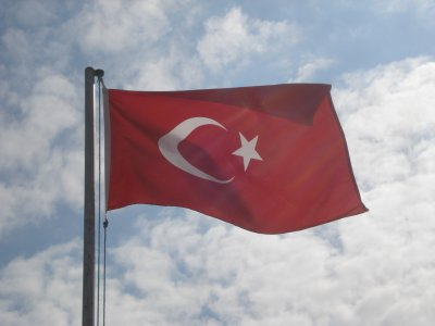 Turkish Flag with Cappadocian Sky
