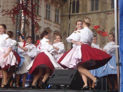 Czech folk dance at Easter Festival, Old Town Square, Prague