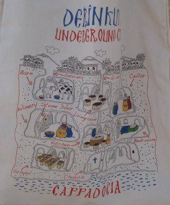 Cartoon map of Derinkuyu Underground City, Cappadocia