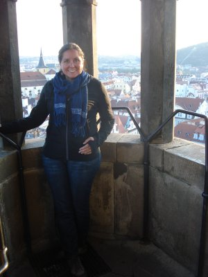 Jennifer in the clock tower in Old Town Square, Prague