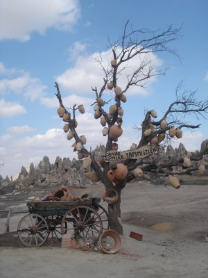 Pottery tree overlooking fairy chimneys in Cappadocia