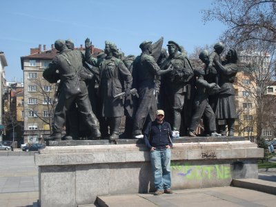 Robert with statues depicting a wildly enthusiastic Bulgarian proletariat greeting Red Army Soldiers.  We're skeptical concerning the historical accuracy of this scene.