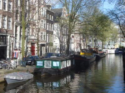 Houseboats in a canal, can you spot Jennifer in this photo?