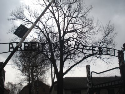 "The horrific and untrue sign above the front gate at Auschwitz 1: ""Work will set you free"""