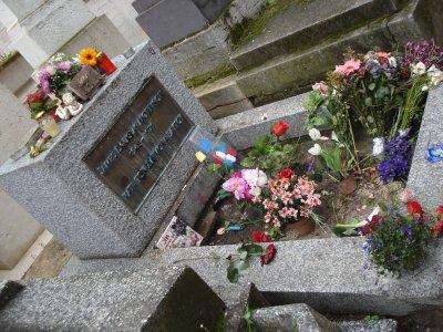 Jim Morrison's grave, Père Lachaise Cemetery in Paris