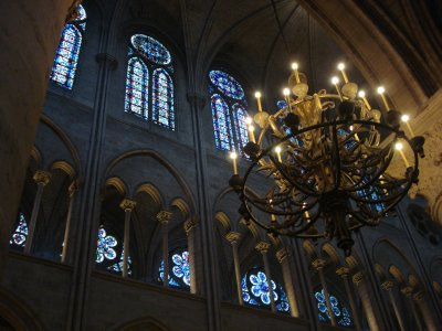 Chandelier and archways in the Notre Dame