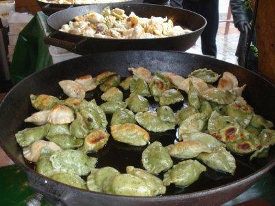 Spinach, Mushroom and Potato Pierogis in Krakow.  Yum.