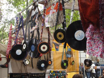 Purses and wallets made out of recycled LPs and 45s.  One example of the many cool things you can find at El Rastro flea market.