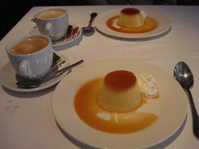 Café con leche and flan for postre.  Flan-tastic!